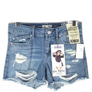 Rewash Shorts - Rewash Vintage Gem Patches Cutoff Denim Shorts